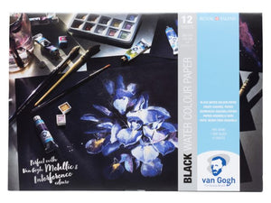 Royal Talens van Gogh Black Water Colour  Aquarellpapier 12 Blatt 300g/m² 3 Größen