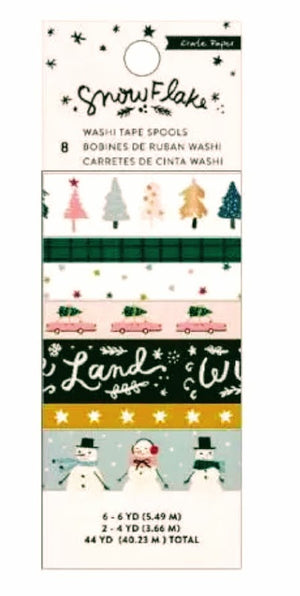 American Crafts • Crate paper Snowflake washi tape  - Inhalt 8 Rollen