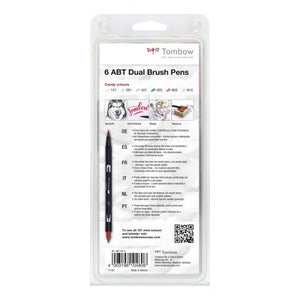 Tombow ABT-Fasermaler Dual Brush Pen mit zwei Spitzen Candy Colors 6 Stifte