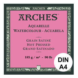 Arches Aquarelle - Watercolour -   GRAIN SATINÉ   - hot pressed  Din A  185g/m² 15 Blatt