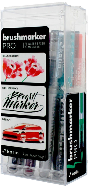KARIN Brushmarker PRO  Basic Color Set 12 Stück mit Ink-Free System