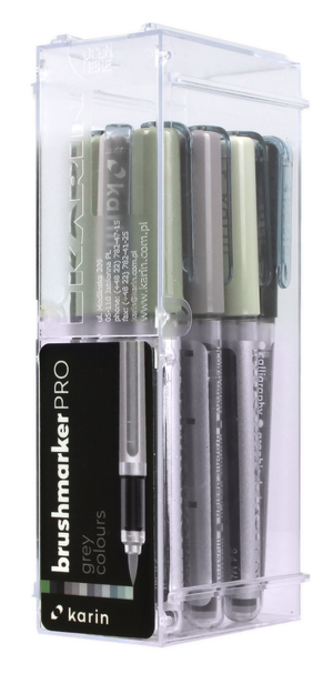 KARIN Brushmarker PRO  Grey Color Set 12 Stück mit Ink-Free System