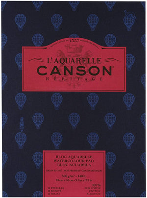 "CANSON ""HERITAGE""  WATERCOLOUR PAPER PAD, 300g², Hot Pressed, 23X31cm, 12 Blatt,  Satiniert"