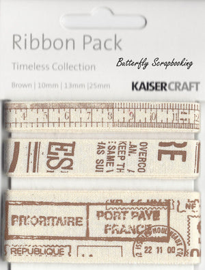 Kaisercraft Bänder Set Timeless Collection 3er Set braun