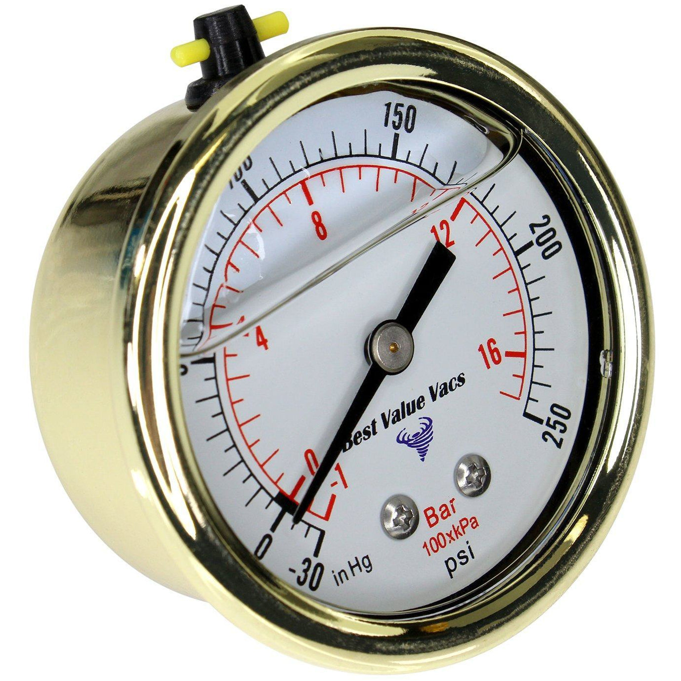 Gold Glycerin Filled Compound Gauge - Back Mount Shop All Categories BVV
