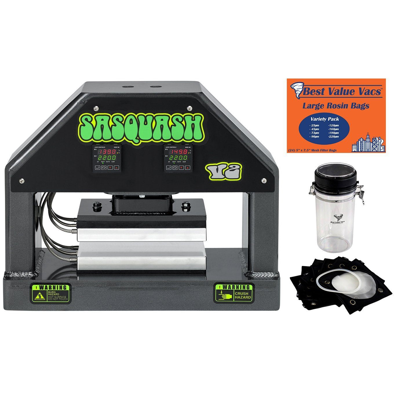 SASQUASH V2 Rosin Press Kit with FREE Dry Ice Shaker + Filter Bags New Products Sasquash No Pump - Press ONLY