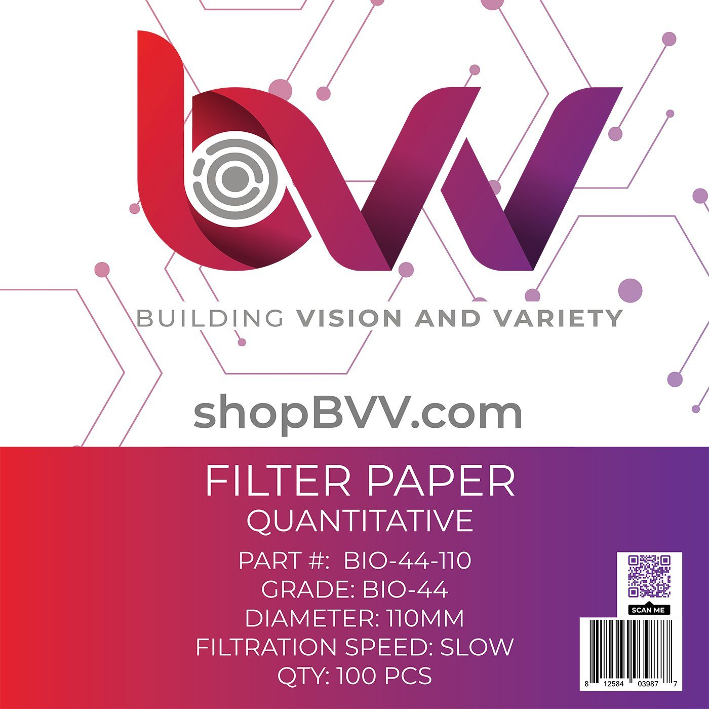 2.5um Quantitative BVV Ashless Filter Papers Slow Grade 42 110 Millimeter