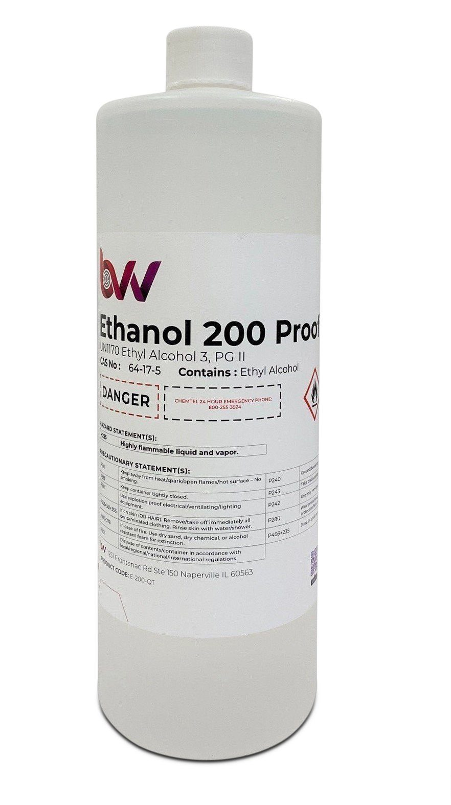 BVV Food & Lab Grade Ethanol 200 Proof - 99.97% - USP-NF, Kosher - Excise Tax Included BVV 1 Quart