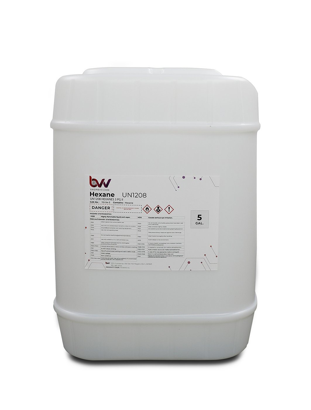 BVV High Purity Lab Grade Hexane Shop Brands BVV 5 Gallon
