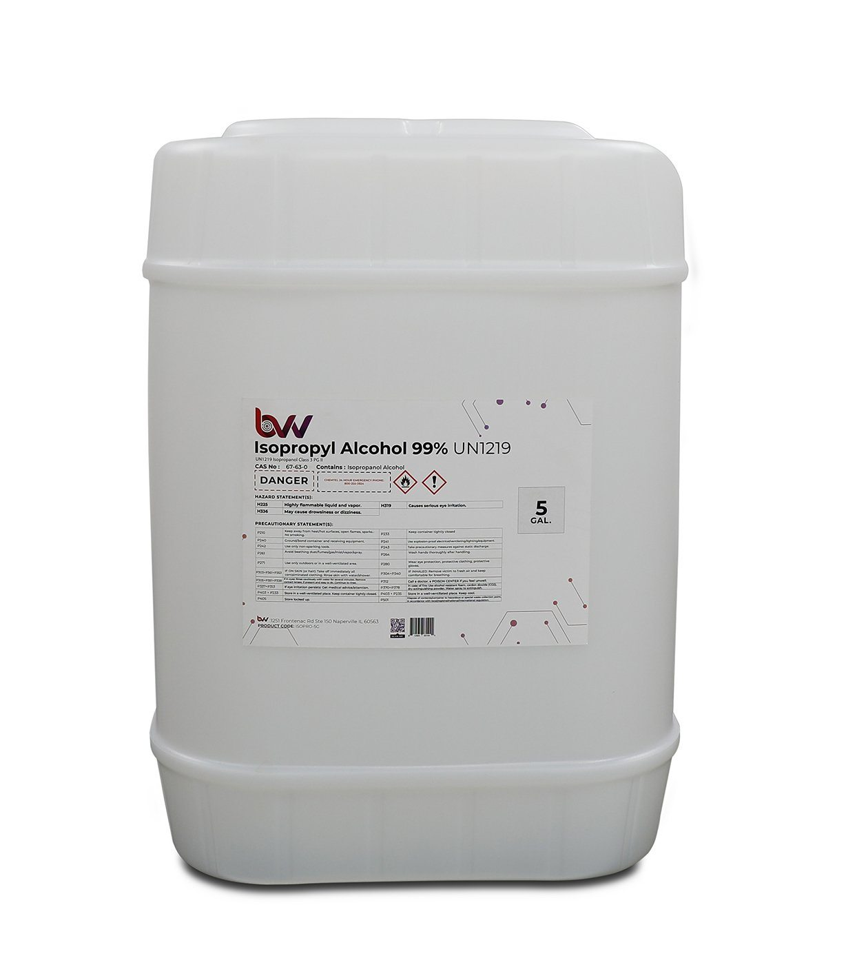 BVV™ High Purity Isopropyl Alcohol 99% - USP-NF Grade 5 gallon dispenser
