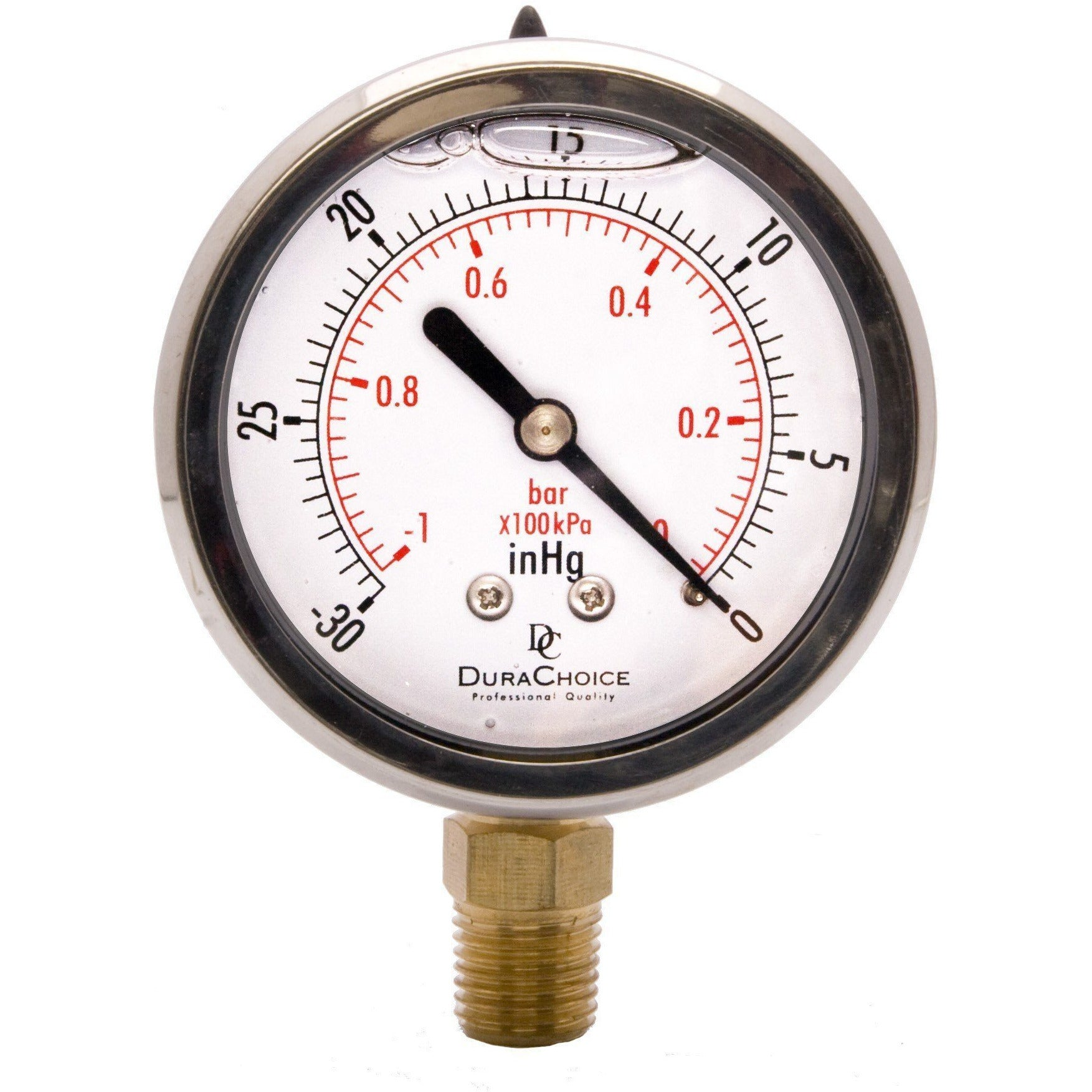 "2-1/2"" Liquid Filled Pressure Gauges - Stainless Steel Case, Brass, 1/4"" NPT, Lower Mount Connection Shop All Categories DuraChoice 0-15PSI"