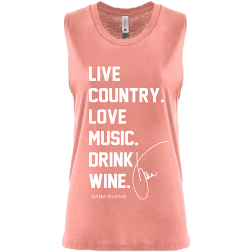 Live Country Love Music Drink Wine Tank