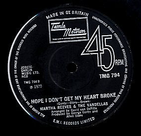 MARTHA REEVES & THE VANDELLAS [Bless You / Hope I Don't Get My Heart Broken]
