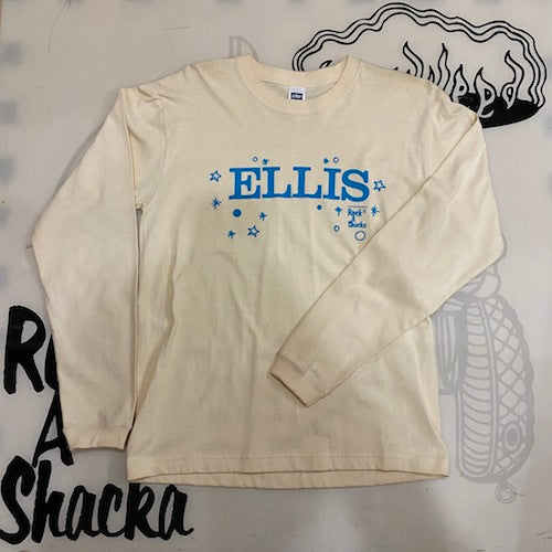 ALTON ELLIS LABEL-T (LONG SLEEVE)  [Ellis Label-T  / Naturalベース X Skyblue Size:S]