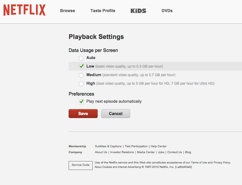 how to reduce video playback quality in netflix