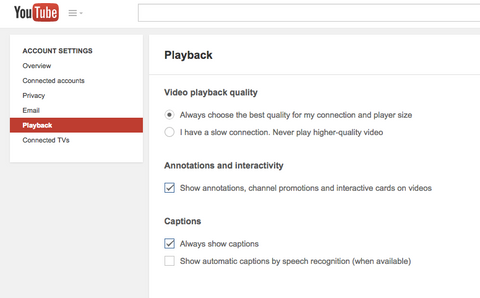 How to reduce the video playback quality for YouTube