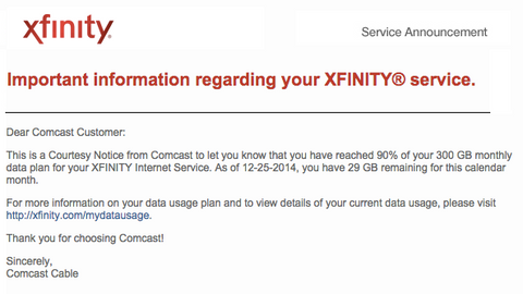 email from comcast xfinity about internet data overage