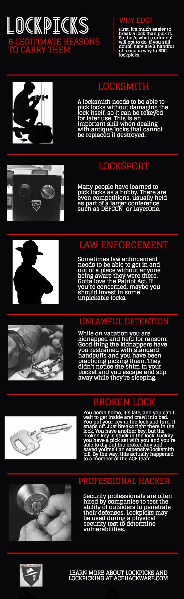 infographic 6 legitimate reasons to carry lockpicks