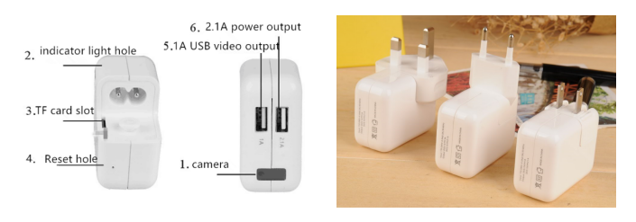 AC Adapter with Hidden 1080P Camera (White)