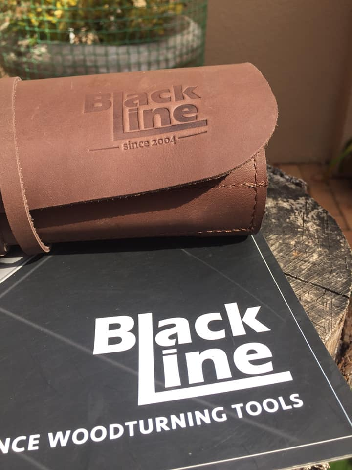 BlackLine MIDI Short 5pc Carbide Chisel set in leather tool rolls (Handle & 4 Shafts & Cutters)
