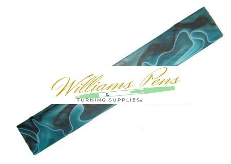 Dark Turquoise with White and Black line Acrylic Pen Blank - Williams Pens & Turning Supplies.