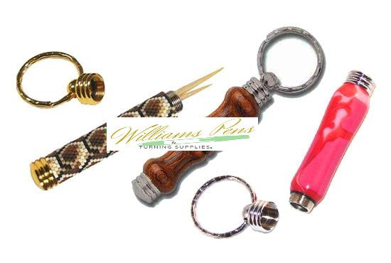 Chrome Secret Compartment Key Ring Toothpick Size Rippled - Williams Pens & Turning Supplies.