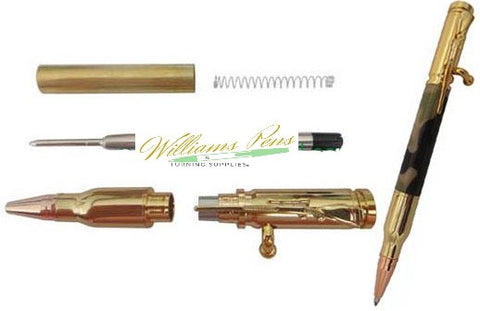 Gold Rifle Bolt Pen Kits - Williams Pens & Turning Supplies.