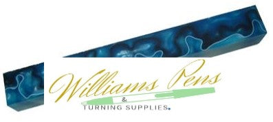 Royal Blue with White and Black line Acrylic Pen Blank - Williams Pens & Turning Supplies.