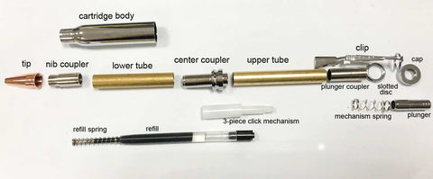 Chrome Bullet Click Pen Kit with Copper Tip - Williams Pens & Turning Supplies.