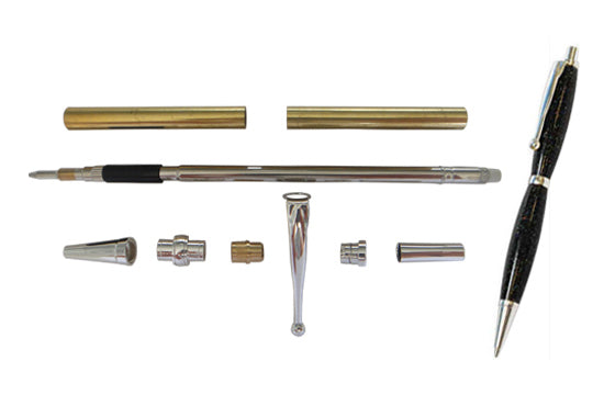 Fancy Pen Kit Satin Silver - Williams Pens & Turning Supplies.