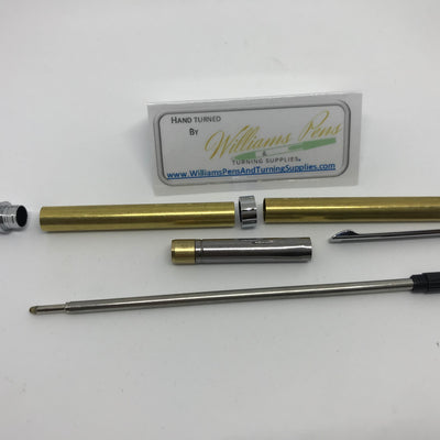 Slimline Pen Kit Chrome with Black Stripe - Williams Pens & Turning Supplies.