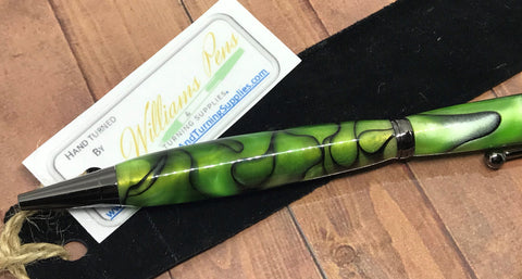 Finished Williams Slimline Pen Green & Black Swirl Blank on a Gun Metal Pen Kit - Williams Pens & Turning Supplies.