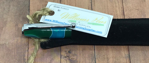 Finished Slimline Pen Green & Blue Swirl Blank on a Chrome Pen Kit - Williams Pens & Turning Supplies.