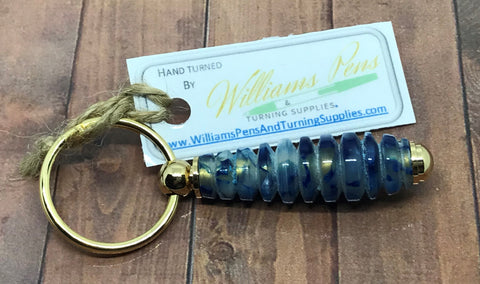 Finished Williams Key Ring Dark Blue & White on a Gold Kit - Williams Pens & Turning Supplies.