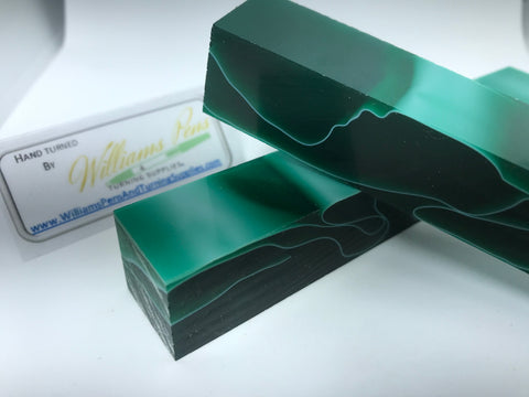 Acrylic Dark Green with White Line Pen Blank - Williams Pens & Turning Supplies.