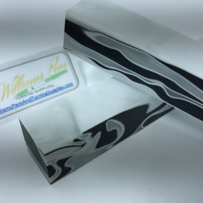 Acrylic White & Black Swirl Pen Blank - Williams Pens & Turning Supplies.