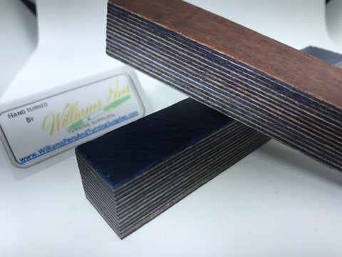 Colour Wood Pen Blank (Blue & Coffee) - Williams Pens & Turning Supplies.