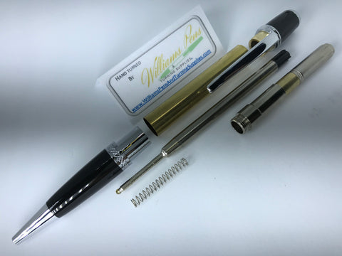 Chrome & Black Chrome Sierra Pen Kit - Williams Pens & Turning Supplies.