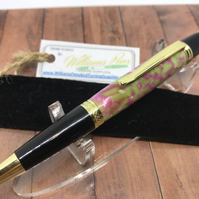 Williams Finished Sierra Pen Gold & Black Chrome Kit with Pink & Light Green Polished Blank. - Williams Pens & Turning Supplies.