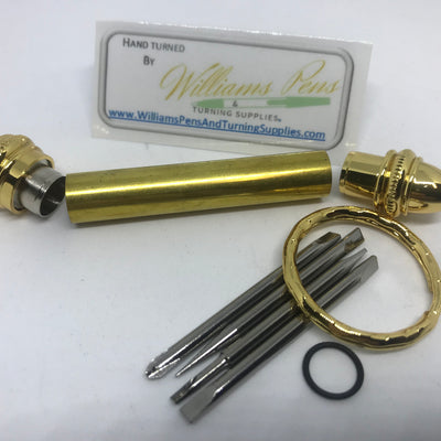 Gold Mini Key Chain Screwdriver Kit - Williams Pens & Turning Supplies.