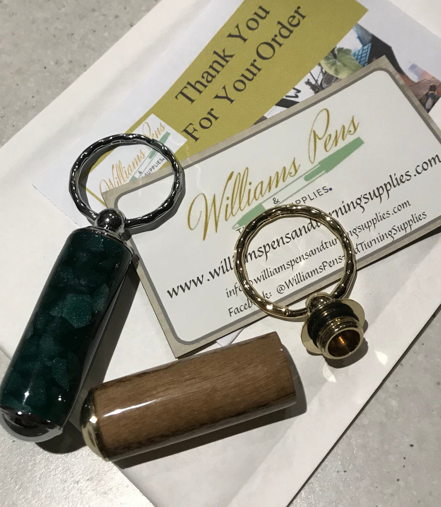 Gold Secret Compartment Pill Box Key Chain Kit - Williams Pens & Turning Supplies.
