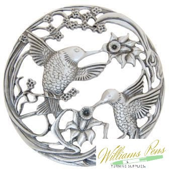 Pot Pourri Lid Pewter Double Humming Birds