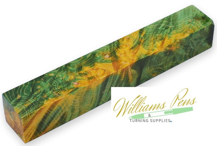 Stabilised Pen Blanks Yellow + Green Hybrid - Williams Pens & Turning Supplies.