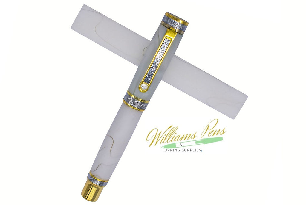 Acrylic White with Transparent Line Pen Blank