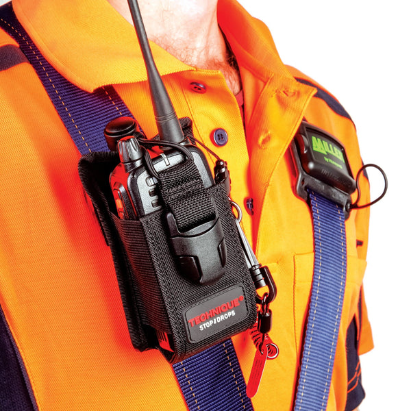 Adjustable Radio Holster With Coil E-Tether And E-Catch