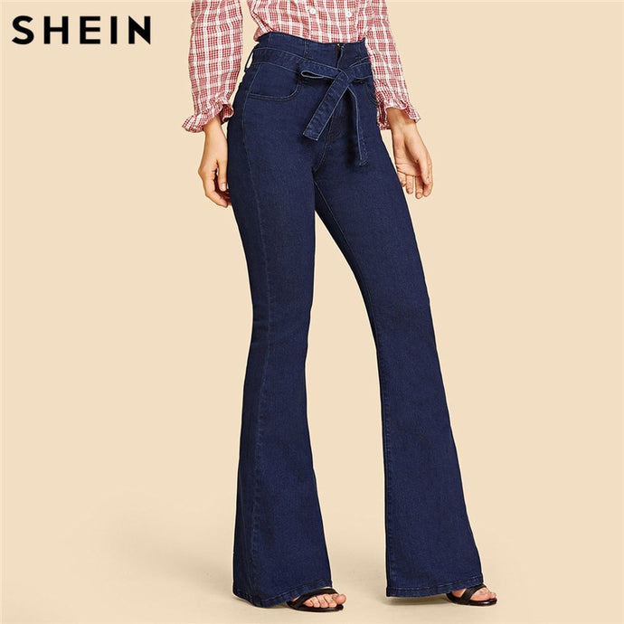 c83ebf03df SHEIN Navy High Waist Vintage Long Flare Leg Belted Jeans Women Tie Waist  Zipper Fly Retro