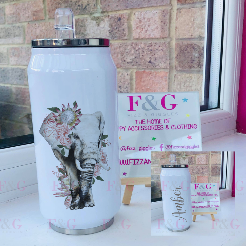 Personalised Floral Elephant 500ml Can Style Insulated Tumbler
