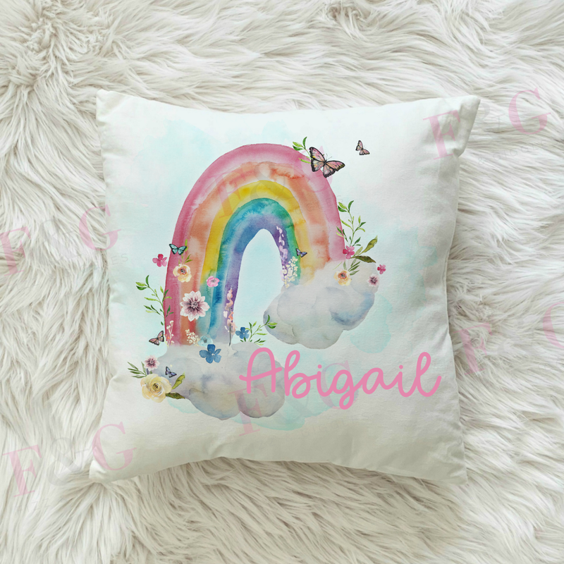 Personalised Floral Rainbow Cushion