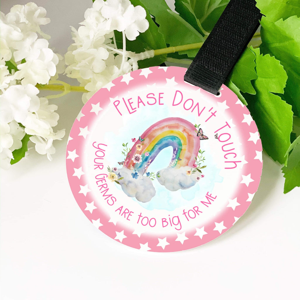 Car seat sign, Pram Tag, Accessories, tag, Please don't touch baby, velcro handle hanging sign, germ protection, premature newborn pram