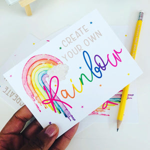 Create Your Own Rainbow Note Cards & Envelopes